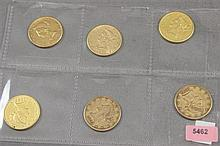 6 U.S. $10 LIBERTY HEAD GOLD COINS 1881,1881S, 1886S, 1893, 1893, 1899S