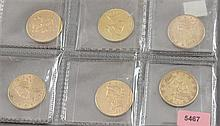 6 U.S. $10 LIBERTY HEAD GOLD COINS 1880S, 1881, 1881, 1894, 1899, 1901
