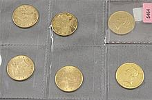 6 U.S. $10 LIBERTY HEAD GOLD COINS 1882, 1886S, 1886S, 1886S, 1901, 1907