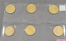 6 U.S. $10 LIBERTY HEAD GOLD COINS 1880, 1880, 1881, 1893, 1895, 1898