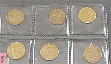 6 U.S. $10 LIBERTY HEAD GOLD COINS 1879, 1881, 1881, 1881, 1887S, 1903S