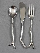 TRHEE PIECE MICHAEL ARAM SILVERPLATE CHILD'S FORK, SPOON AND KNIFE SET WITH TWIG MOTIF 4 3/4
