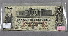 1800 BANK OF THE REPUBLIC, STATE OF RHODE ISLAND $5 CURRENCY