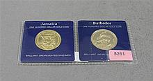 (2) FRANKLIN MINT $100 GOLD COINS, BARBADOS .500 6.21 GRAMS, AND JAMAICA .900 GOLD 7.13 GRAMS