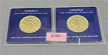 (2) FRANKLIN MINT $100 GOLD COINS OF JAMAICA .900 GOLD 7.13 GRAMS