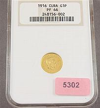 NGC PF66 1916 CUBAN 1 PESO .900 GOLD PROOF 1.67g, ONLY AVAILABLE IN CONTINENTAL U.S.