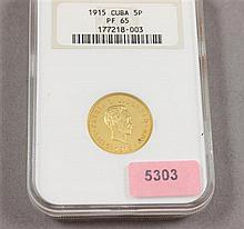 NGC PF65 1915 CUBAN 5 PESO .900 GOLD PROOF 33.43g, ONLY AVAILABLE IN CONTINENTAL U.S.