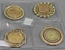 (4) 1909 FRENCH 20 FRANC .900 GOLD COIN IN BEZEL 13.92g, 1919 COLUMBIAN 5 PESO .916 GOLD COIN IN BEZEL 15.77g, 1899 BRITISH SOVEREIG...