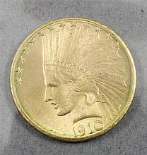1910D U.S. $10 INDIAN HEAD GOLD COIN