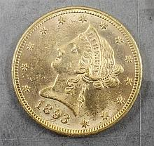 1893 US. $10 LIBERTY HEAD GOLD COIN