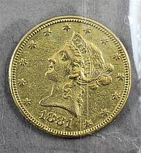 1881 U.S. $10 LIBERTY HEAD GOLD COIN, AUTHENTICITY QUESTIONABLE