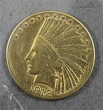1912S U.S. $10 INDIAN HEAD GOLD COIN