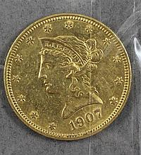 1907 U.S. $10 LIBERTY HEAD GOLD COIN