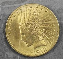 1912 U.S. $10 INDIAN HEAD GOLD COIN