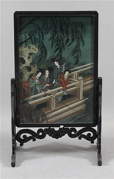 ASIAN EBONY FINISH FIREPLACE SCREEN WITH REVERSE PAINTING OF GEISHA GIRLS ON BRIDGE