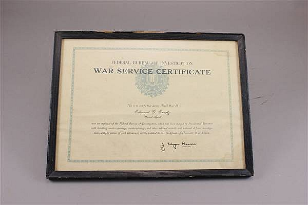 WWII FBI WAR SERVICE CERTIFICATE SIGNED BY J. EDGAR HOOVER