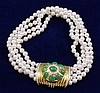 18K YELLOW GOLD JADE AND DIAMOND ACCENTED CLASP MULTI STRAND CULTURED PEARL NECKLACE, 13