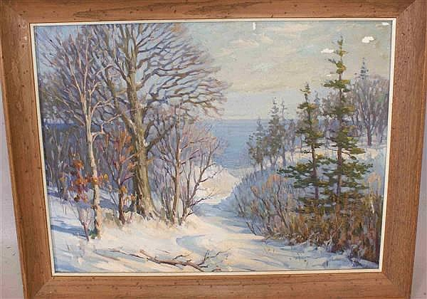 HUGO LAABS 20TH CENTURY AMERICA OIL ON BOARD LAKE MICHIGAN WINTER SCENE, 24