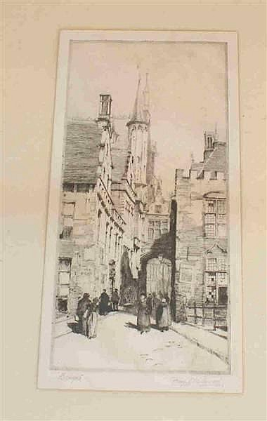 PERCY JAMES WESTWOOD (1878-?) BRITISH) PENCIL SIGNED ENGRAVING