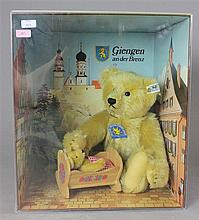 STEIFF BOXED BEAR WITH CRADLE, LARGE BEAR IS APPROXIMATELY 8