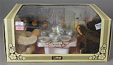 STEIFF BOXED SET, BEARS AT TEA PARTY #5230, BEARS ARE APPROXIMATELY 5