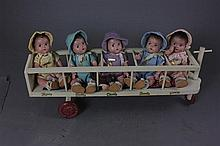 7'' ALL ORIGINAL MADAME ALEXANDER DIONMNE QUINTUPLETS IN WOODEN PULL TOY