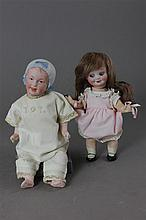(2) GERMAN BISQUE HEAD SMALL DOLLS