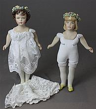 (2) KATHY REDMOND BISQUE GIRLS WITH FLORAL HEAD WREATHS