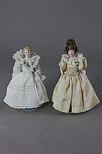 (2) GERMAN ANTIQUE BISQUE SHOULDERHEAD DOLLHOUSE DOLLS