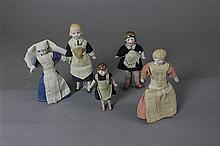 (5) ANTIQUE GERMAN ALL BISQUE DOLLHOUSE DOLLS IN ORIGINAL OUTFITS