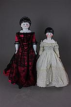 (2) SPILL CURL PAINTED EYE CHINA HEAD DOLLS