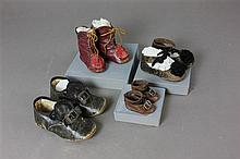 (4) PAIR ANTIQUE DOLL SHOES