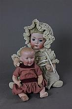 (2) GERMAN BISQUE HEAD CHARACTER BABIES