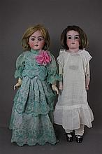 (2) GERMAN BISQUE HEAD DOLLS