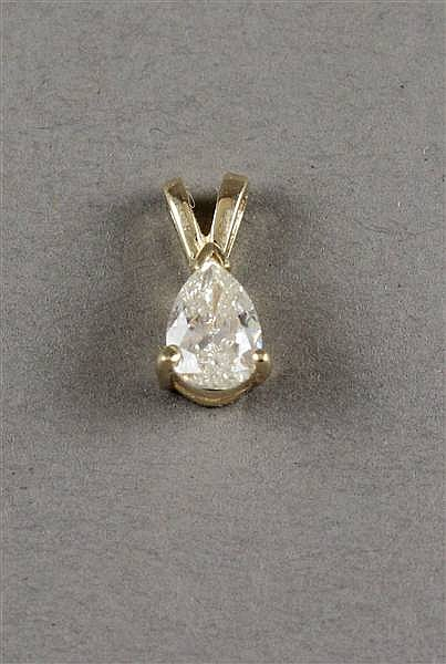 UNMARKED YELLOW GOLD, AT LEAST 14K, PEAR SHAPED DIAMOND PENDANT 3/8