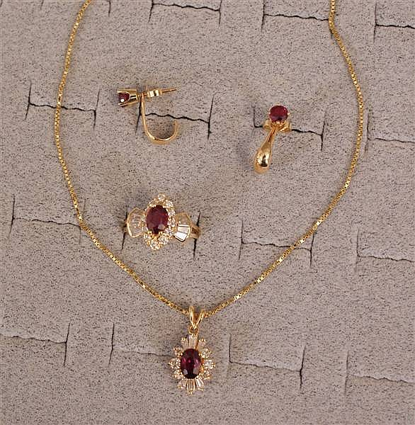 14 K YELLOW GOLD RUBY AND DIAMOND RING NECKLACE AND EARRING SET