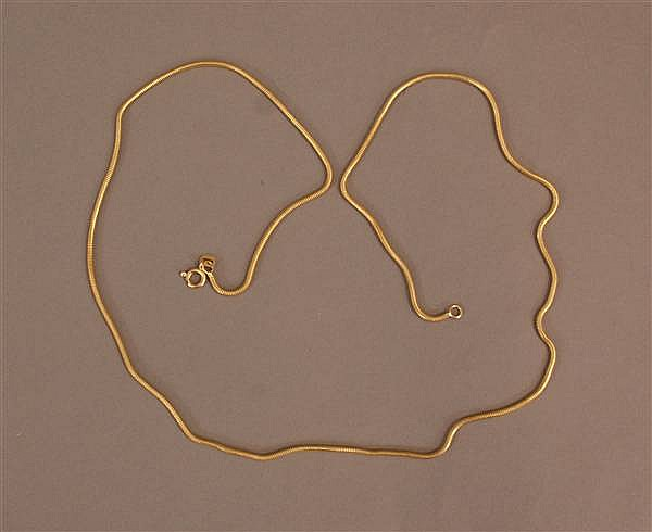 18 K YELLOW GOLD SNAKE CHAIN NECKLACE
