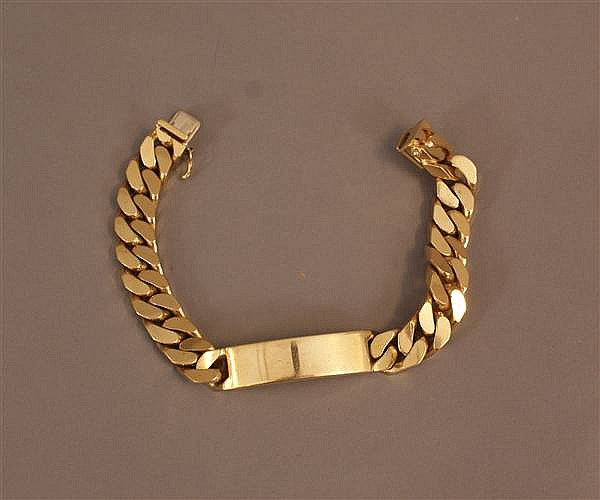 18 K YELLOW GOLD HEAVY ID BRACELET