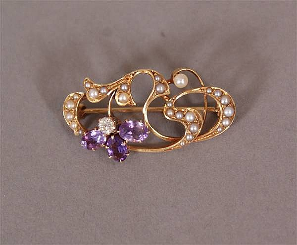 14 K YELLOW GOLD ART NOUVEAU PIN WITH AMETHYST AND DIAMOND FLOWER AND SEED PEARL DESIGN