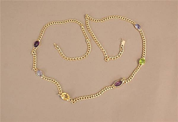 14 K CURB CHAIN NECKLACE WITH GEM STONE LINK ACCENTS