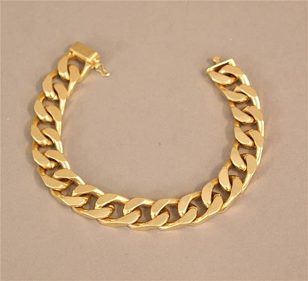 18 K YELLOW GOLD HEAVY CURB LINK CHAIN BRACELET