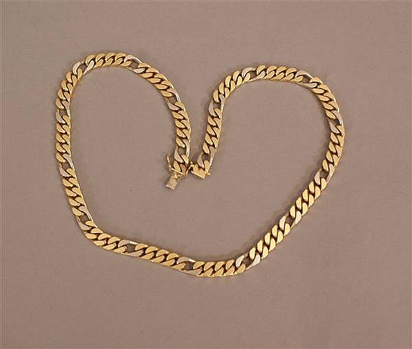 18 K TWO TONE HEAVY FIGARO CHAIN NECKLACE