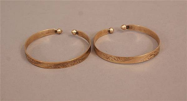 (2) VINTAGE 10 K YELLOW GOLD OPEN BANGLES