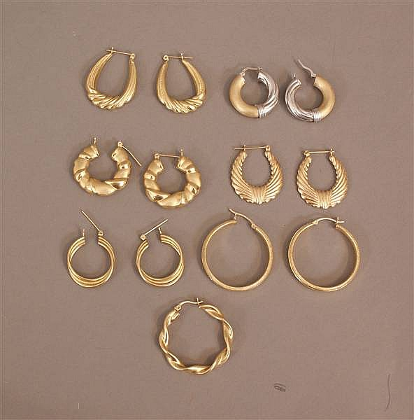 6 PAIRS AND (1) SINGLE 10 K - 14 K YELLOW GOLD HOOP EARRINGS