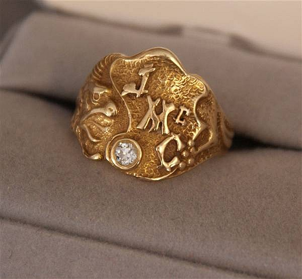 14 K YELLOW GOLD ART NOUVEAU INITIAL RING