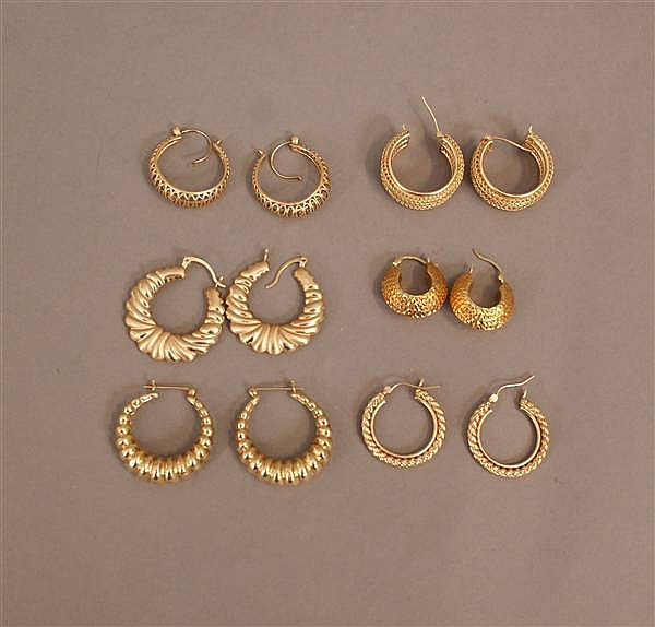 6 PAIRS 14 K YELLOW GOLD HOOP EARRINGS