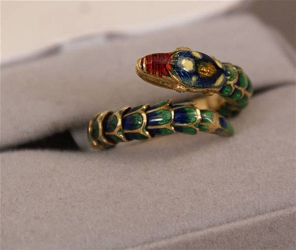 18 K YELLOW GOLD SNAKE RING