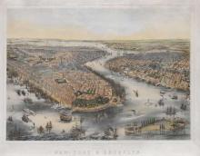 C. Matter, Bird's Eye View of New-York & Brooklyn.