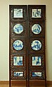 Chinese Blue & White Porcelain Inlaid Wood Six-Panel