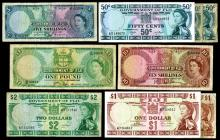 Government of Fiji, 1957-74, Lot of 9 Issued Banknotes